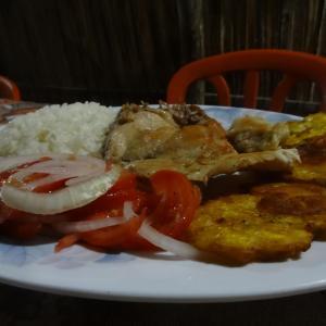 Geflügelsteak mit Patacones (Kochbananen), Reis und Tomatensalat